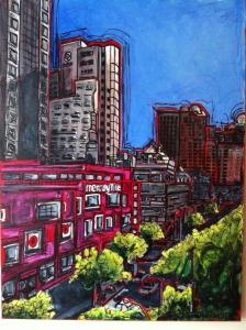 Jennifer Wilkinson Rynbrandt, Mercury Ville, Acrylic and Ink on Canvas. For MFA at Alternate Locations Paul's Homewood Café