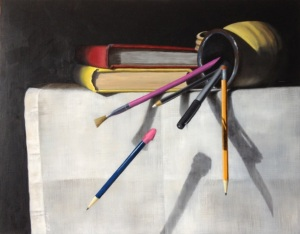 Deb Kommalan, %22Pens and Pencils%22, oil on birch panel
