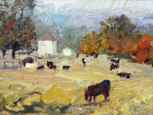 Lynn Mehta, Cows and Old Farmhouse, oil