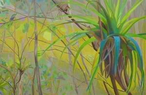 "Among. 2009. Oil on canvas, 48 x 72""."