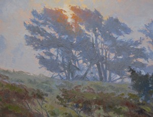 Pacific Pines, oil on panel, Lee Boynton