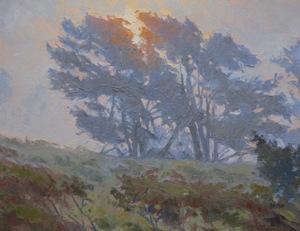 Pacific Pines, oil on panel, Lee Boynton