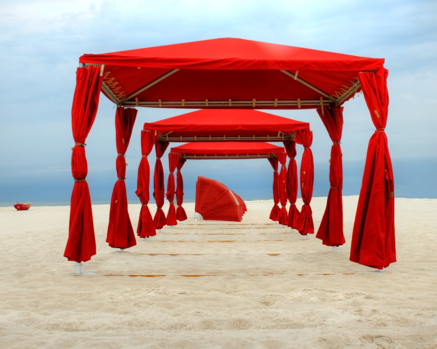 """Red Cabanas"" by Richard Paul Weiblinger"
