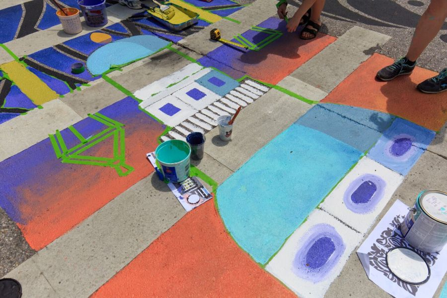 Amos Garret Blvd Crosswalk in progress - ArtWalk's Crosswalks