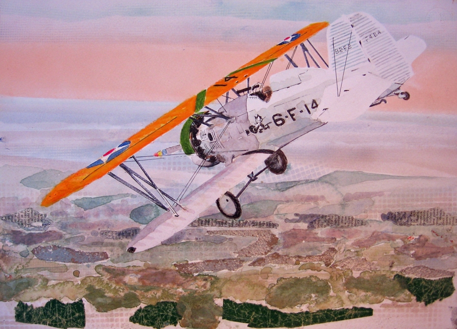 Don Weaver, F4B-4:VF-6B, mixed media [paper collage, acrylic] on paper