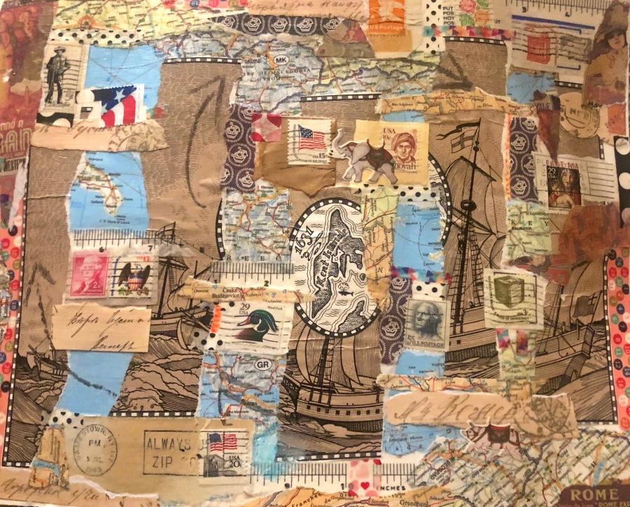 Jill Tanenbaum, Passport to India, multi media collage