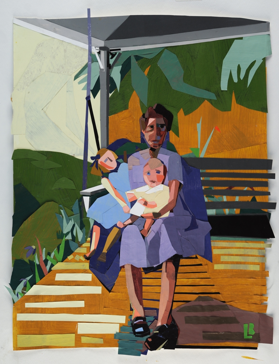 Leslie Blackmon, Family Swing, collage:hand-painted papers