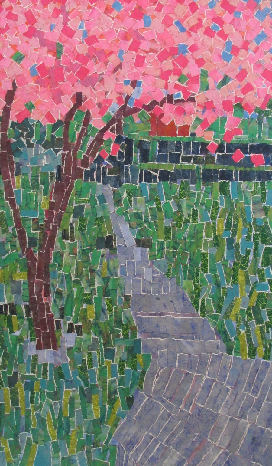 Sheryl Southwick, Cherry Blossom Tree on the Path, Collage of Handpainted Torn Paper