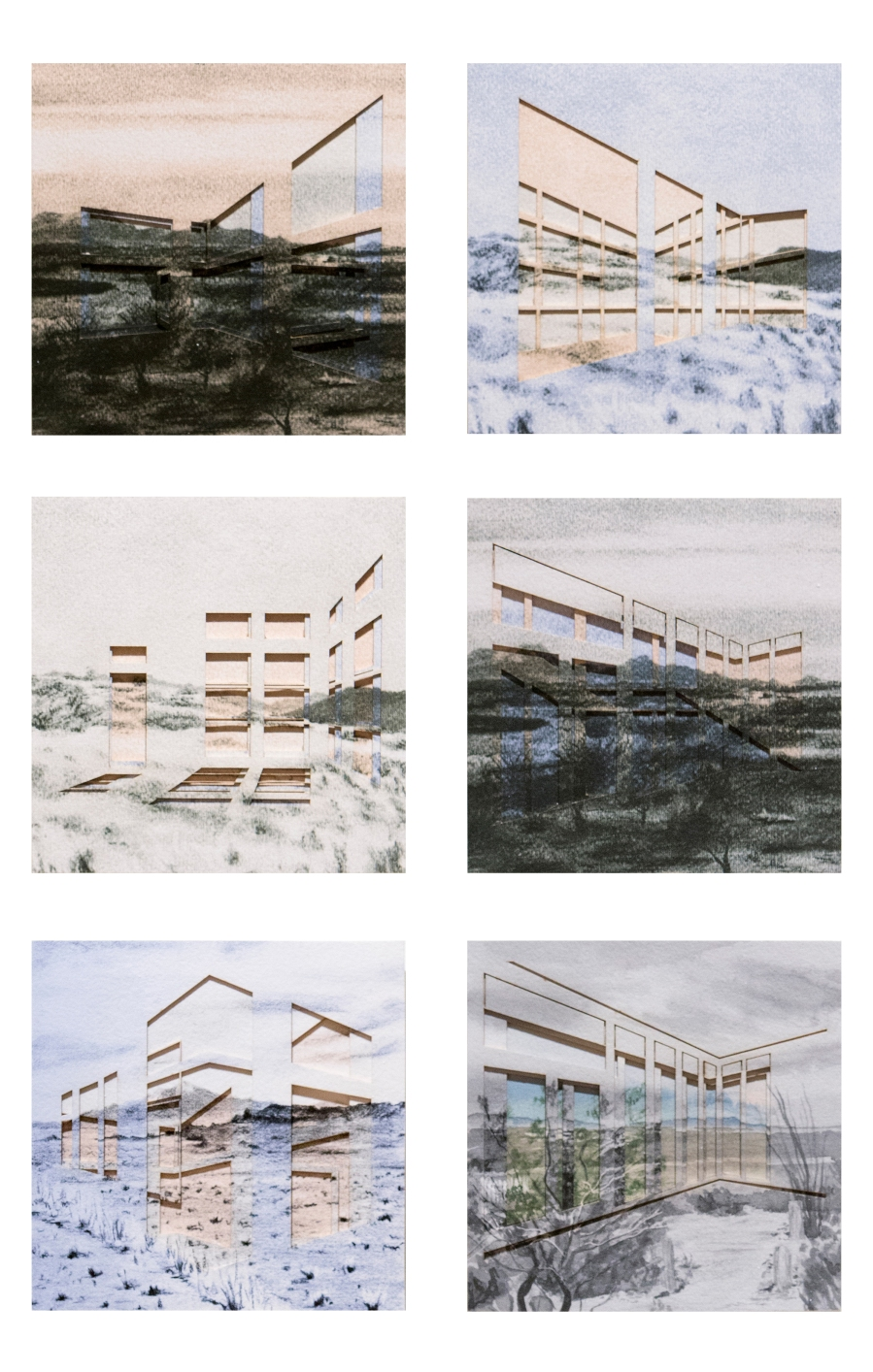 """Leah Lewman Laird, """"Cropping; Ideal View"""", Collaged Prints on Archival Museum Board"""