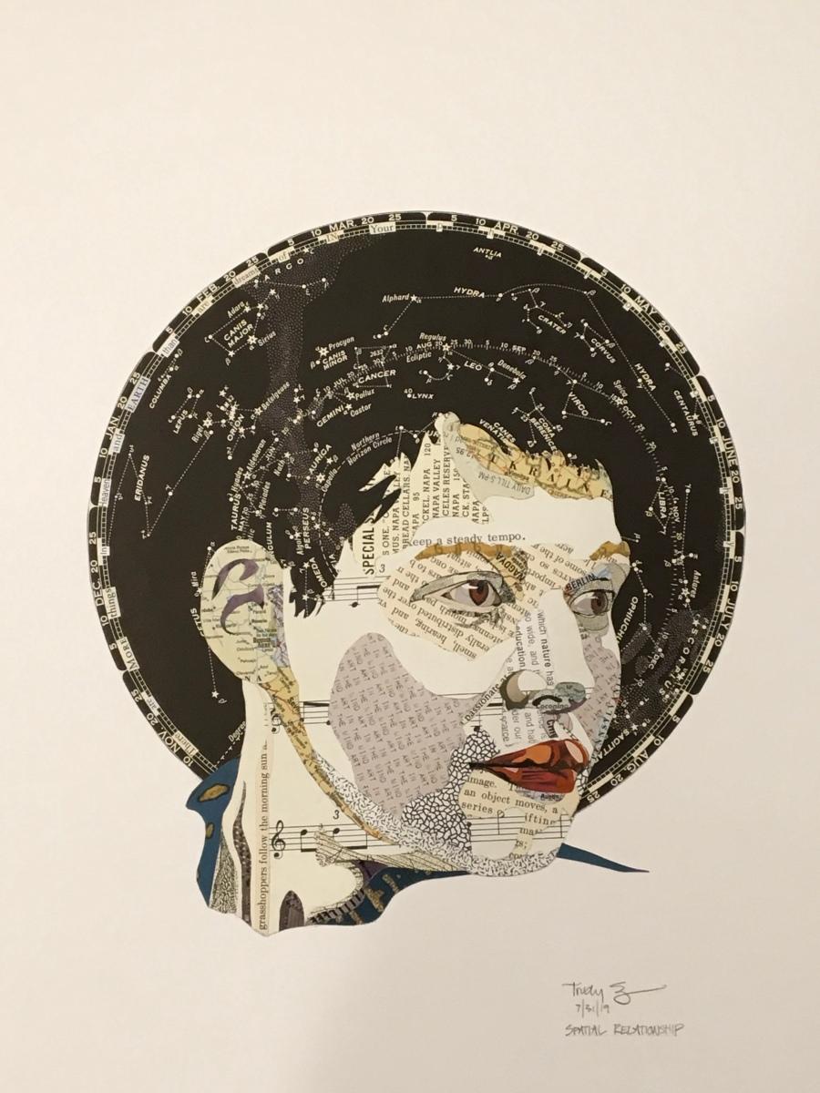 Trudy Borenstein-Sugiura, Rising Son, paper collage