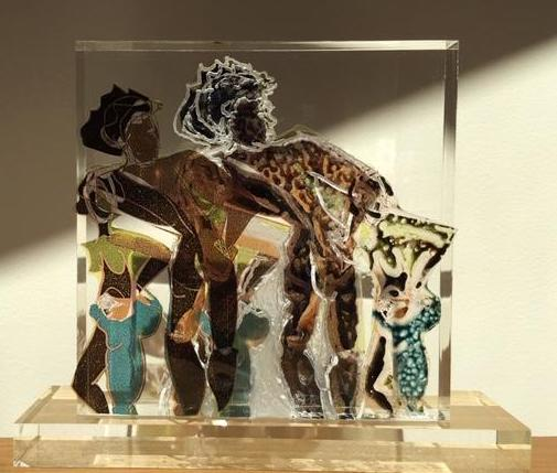 Donna M Masi, Dark Beauty small version,Mixed Media on Acrylic Slab