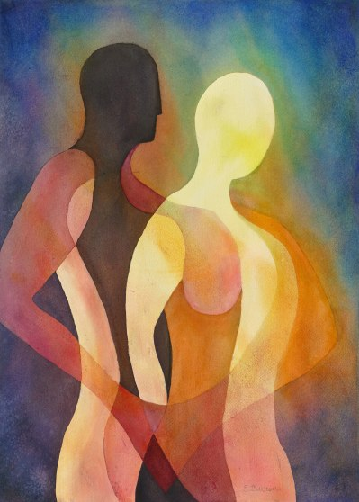 Elizabeth Burin, Couple II, Watercolor