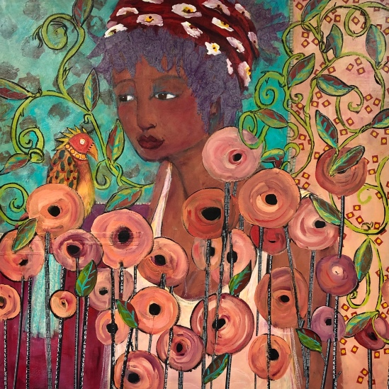 Jill Krasnerr, Among the Peonies, Mixed acrylics
