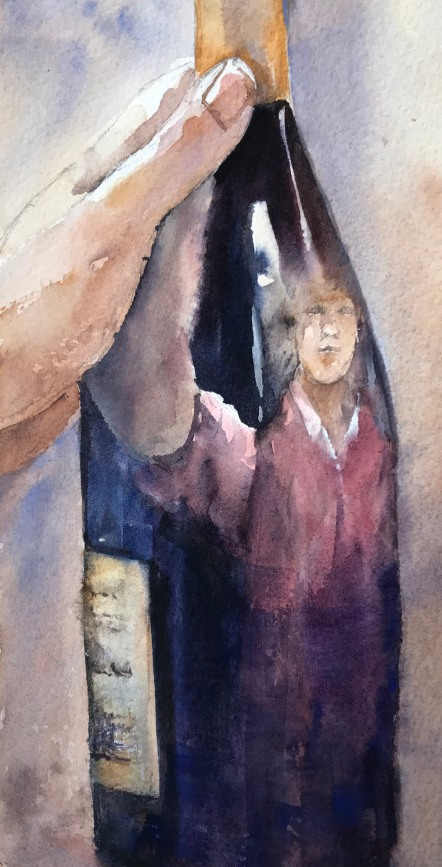 Stacey Perrine Sass, Getting Ready for Another Zoom Happy Hour, watercolor