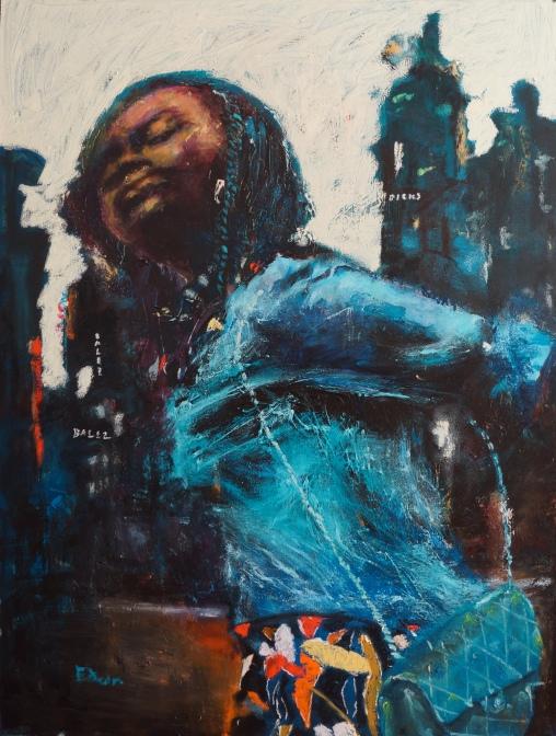 Wynston Edun, upper level, oil pigment sticks, acrylic on canvas