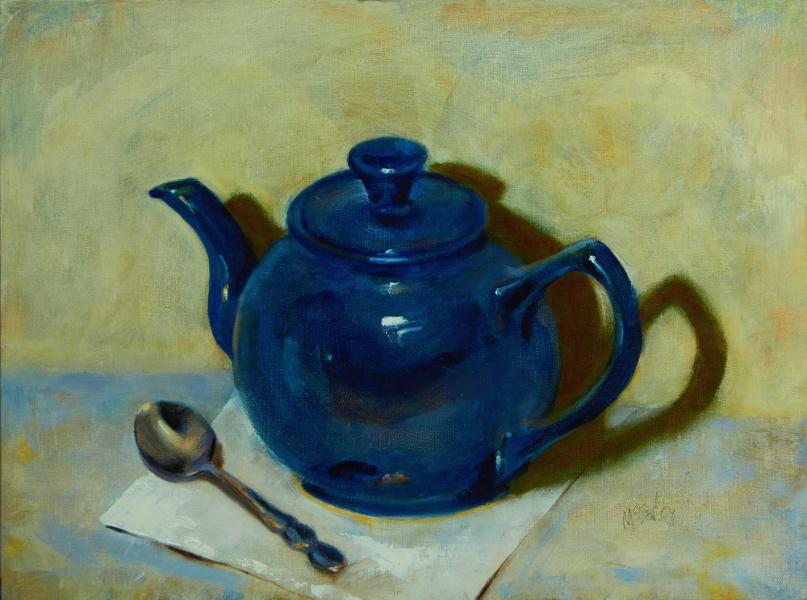 blue teapot w spoon Mike McSorley