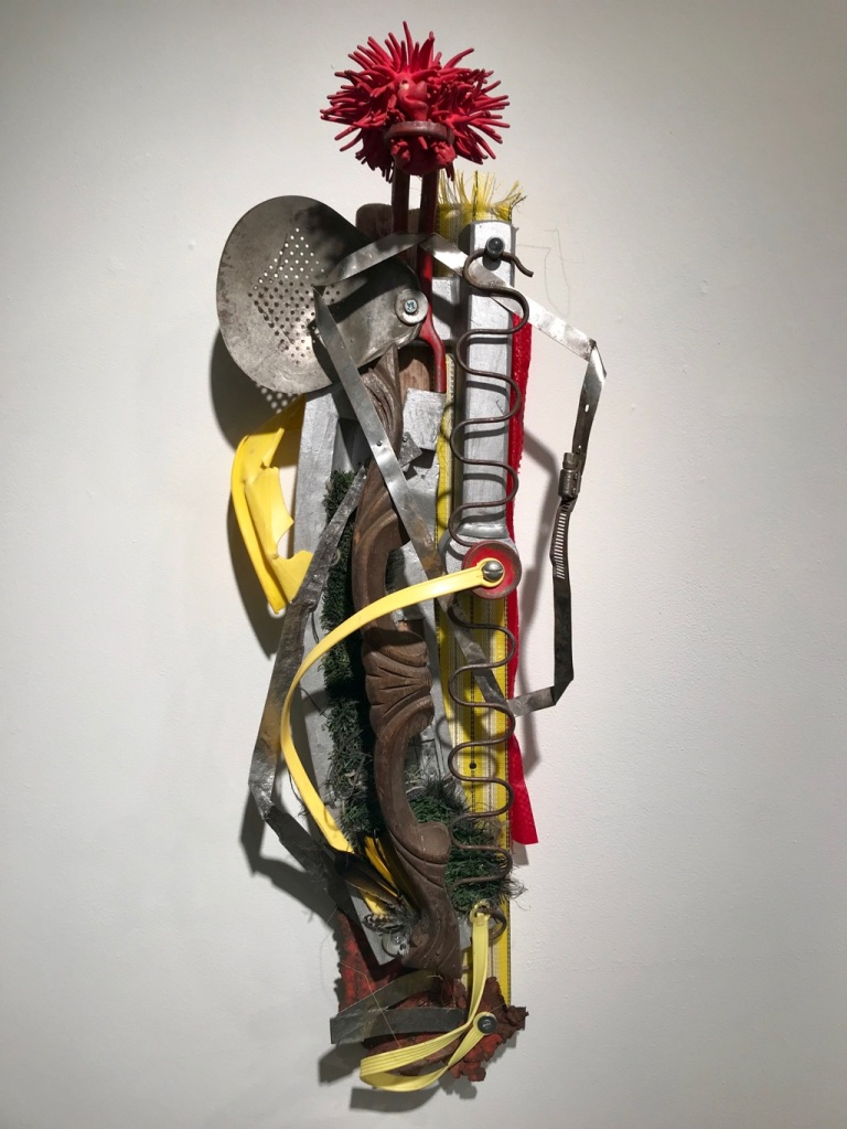 """""""summer tales of caution and danger,"""" found object assemblage, by Gwen Waight"""