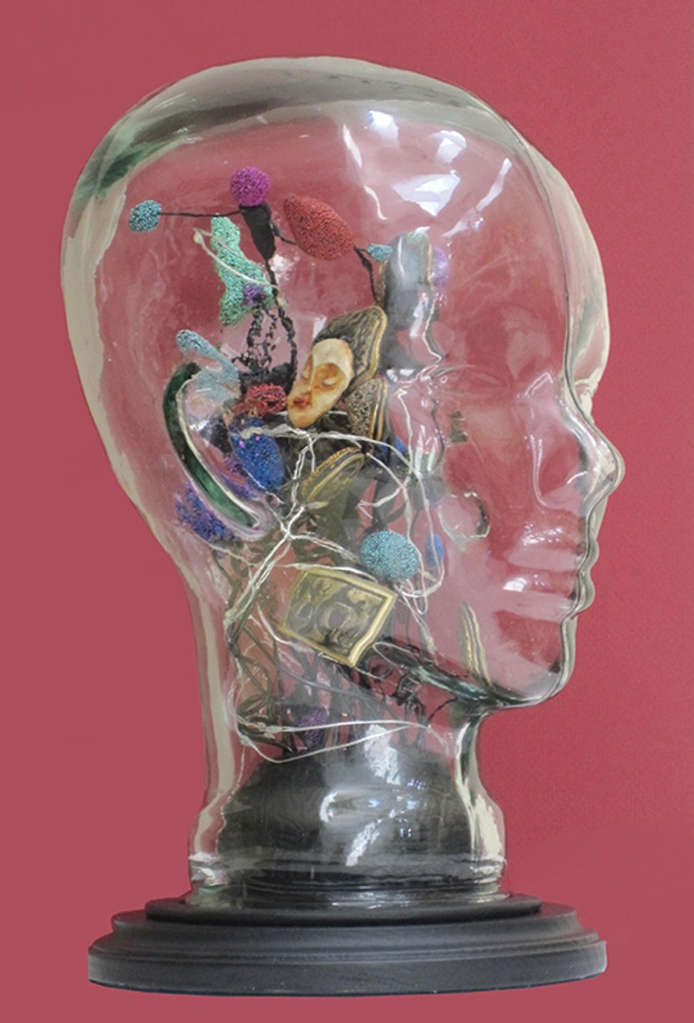 """""""Ideas,"""" glass, wood base with mixed media (includes battery lighting), by MFA Member Judy Ann Jordan"""